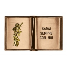 Block letters engraved ground book 17x27,5 cm with gold rose