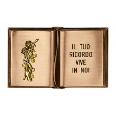 Bronze ground engraved book 17x27,5 cm with gold rose