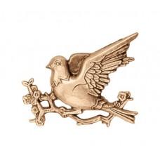 Wall plate bird on branch 6x8 cm