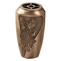 Bronze wall flowers vase 20x11 cm collection Rose